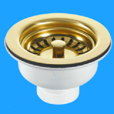 Kitchen Sink Basket Strainer Waste Gold Effect 113mm - 74000871